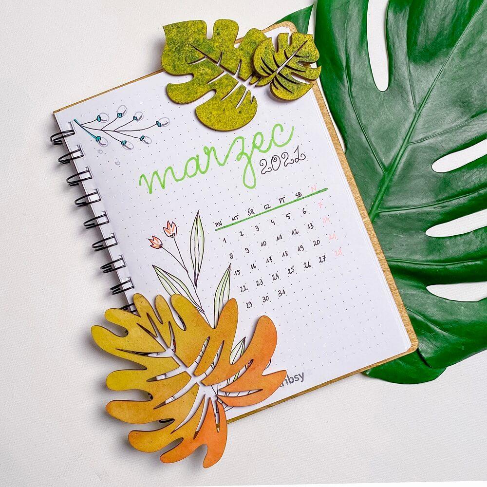 skribsy rozkładówka miesięczna marzec bullet journal