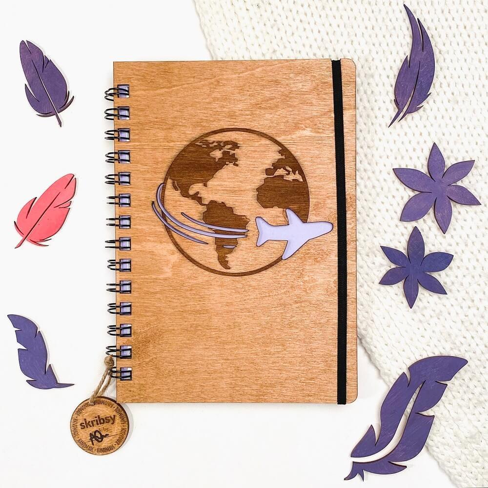 Skribs TRAVEL notes z drewnianą okładką