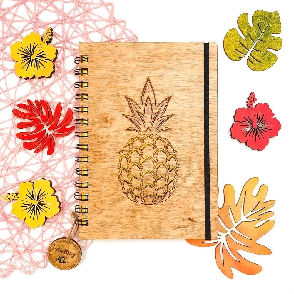 Skribs Ananas drewniany notes