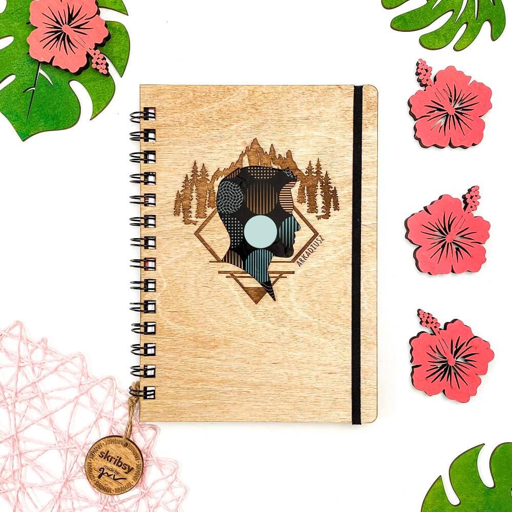 Skribsy drewniane notesy wzór personalizowany boy
