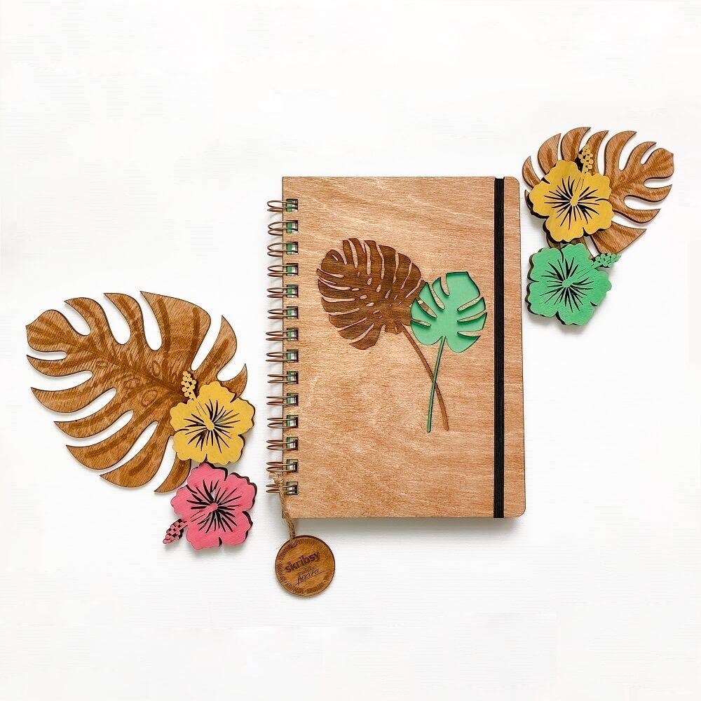 drewniany notes bindowany monstera skribsy