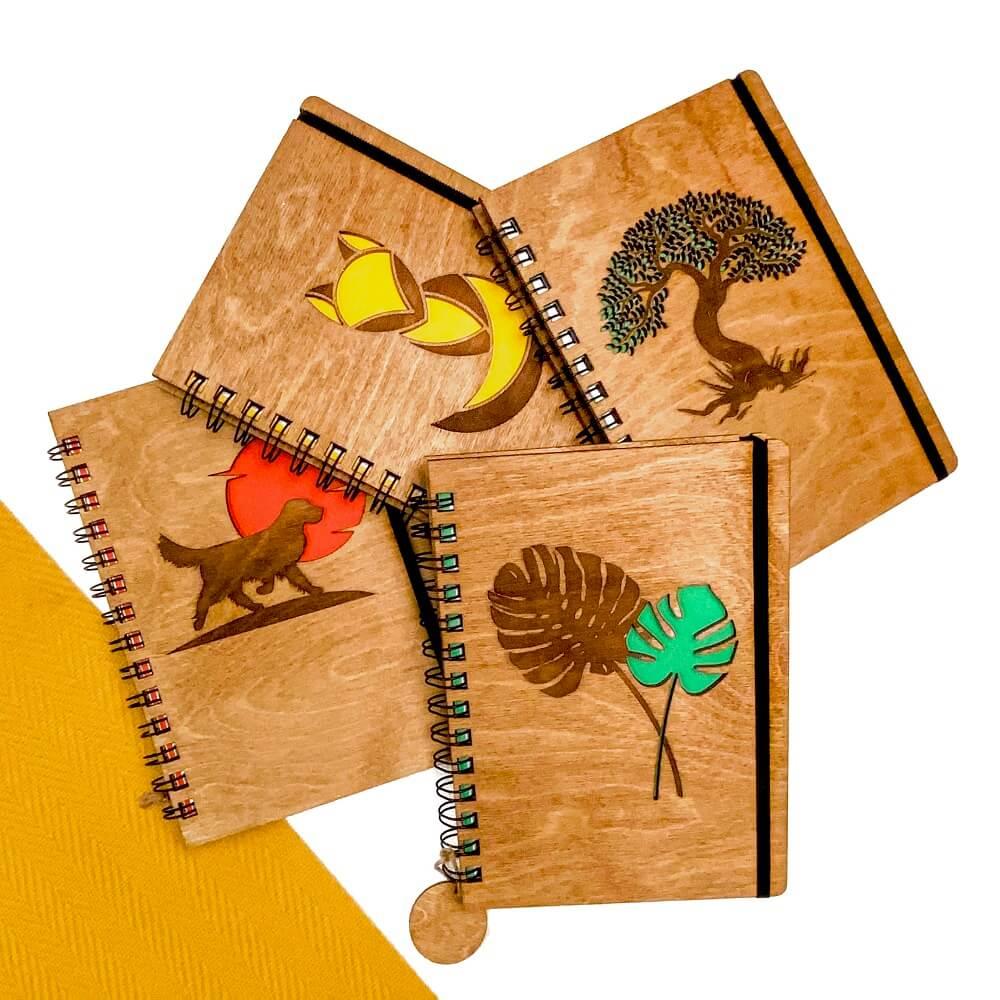 drewniane notesy bindowane