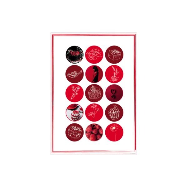 czerwony zestaw naklejek skribsy bullet journal