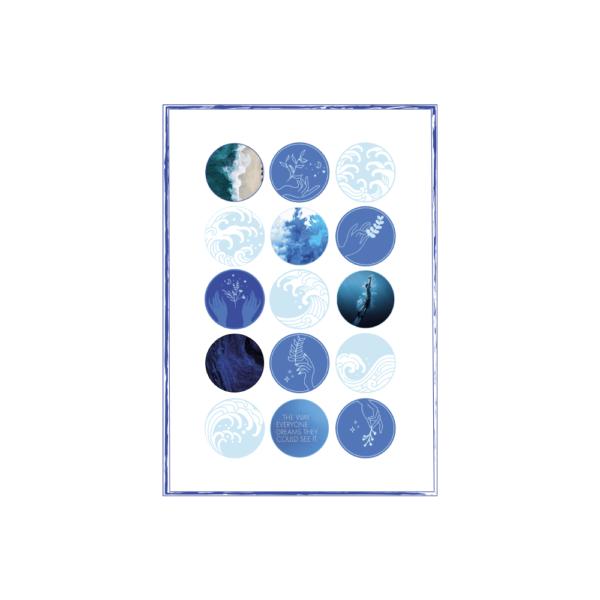 niebieski zestaw naklejek skribsy bullet journal